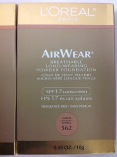 LOreal Air Wear Powder Foundation SPF 17 Sand 40 35 oz by LOreal Paris -- Check this awesome product by going to the link at the image. (This is an affiliate link) Powder Foundation, Makeup Foundation, Loreal Paris, Sunscreen, Fragrance, How To Apply, Awesome, Link, Check