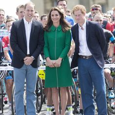Prince William, Duke of Cambridge and Catherine, Duchess of Cambridge with Prince Harry attend the Grand Depart of The Tour de France at Harewood House on July 2014 in Leeds, England. Celebrity Summer Style, Duke Of Cambridge, Erdem, Leeds, Prince William, Kate Middleton, Tours, Celebrities, Yorkshire