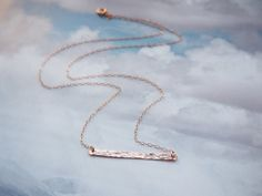 Rose Gold Bar Necklace Hammered Bar Necklace by UESJewelryStudio