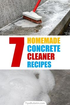 Learn how to make a homemade concrete cleaner using ingredients like baking soda and rubbing alcohol. Learn how to remove oil stains with these nifty cleaning tips. Deep Cleaning Tips, Cleaning Recipes, House Cleaning Tips, Diy Cleaning Products, Cleaning Solutions, Spring Cleaning, Cleaning Hacks, Cleaning Master, Clean Concrete