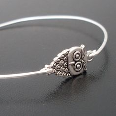 Little Owl Bracelet  Cute Owl Jewelry  Owl Bangle by FrostedWillow, $14.95