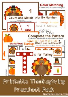 Printable Thanksgiving Preschool Pack for toddlers and preschoolers. Preschool, homeschool activities. Printable Thanksgiving toddler activities.