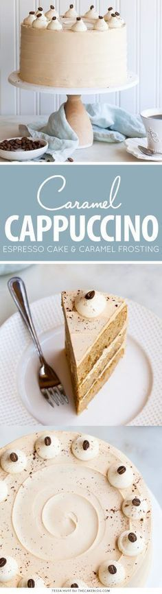 Caramel Cappuccino Cake espresso cake paired with caramel buttercream frosting topped with whole coffee beans and a sprinkle of cocoa powder by Tessa Huff for Homemade Cake Recipes, Cupcake Recipes, Baking Recipes, Cupcake Cakes, Dessert Recipes, Coffe Recipes, Layer Cake Recipes, Homemade Breads, Cappuccino Torte