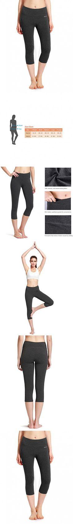 Baleaf Women's Yoga Capri Legging Inner Pocket Non See-through Charcoal Gray Size M