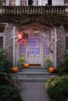 This bewitching Halloween entryway can be found in the historical Park Slope neighborhood of Brooklyn, New York. Enchanting colors -- orange, lime green, soft purple, yellow and red -- and clever lighting make this house a real head-turner.    Park Slope is known for its many historic brownstones, row houses, Queen Anne, Renaissance Revival and Romanesque mansions.