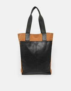 ASOS Leather and Canvas Tote Bag