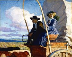 """Wyeth, """"I shall never forget the sight. It was like a great green sea."""" illustration for Herbert Quick's novel """"Vandemark's Folly"""" (serialized in Ladies' Home Journal). Jamie Wyeth, Andrew Wyeth, Nc Wyeth, La Madone, Nostalgic Images, West Art, Cowboy Art, Le Far West, Art And Illustration"""