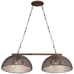 A six-light style, Varaluz's Flow rustic double-shade island pendant comes with a hammered ore finish and two spherical shades.