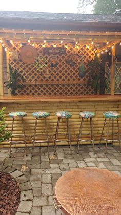 Awesome Backyard Landscaping Projects on a Budget – Bar Shed Ideas Deck Bar, Patio Bar, Backyard Bar, Backyard Landscaping, Bars Tiki, Outdoor Tiki Bar, Tropical Patio, Pub Sheds, Bar Shed