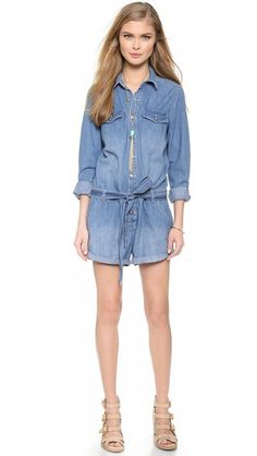 Is there anything better than a denim romper?  This will be your go to summer outfit. Free People Chambray Romper | The Fosters