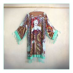 Stunning art nouveau Alphonse Mucha kimono!! Stevie inspired ...total bohemian babe goodness with a vintage vibe. To-die-for green sea green base with beaded tassels dripping down neckline, around hem and on cuffs.   -$298.00