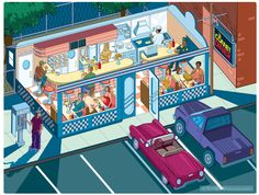 American Diner Illustration by Rod Hunt