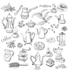Coffee collection  hand drawn vector on VectorStock