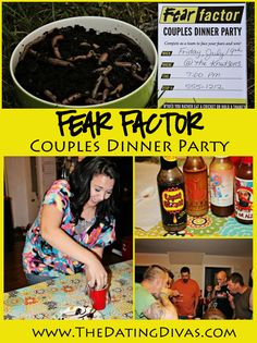 Ideas for an evening all your friends will be talking about. Host a Fear Factor Couples Dinner Party! www.TheDatingDivas.com #FearFactor #couples #gamenight