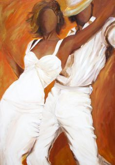 Tango by Sharareh Chakamian. Dancers art print on paper in white dress and white fedora with a burnt orange and bronze background-Title: Tango Blanco My Black Is Beautiful, Black Love, Black Art, African American Art, African Art, Lambada, Tango Dancers, Dance Paintings, Ballet Painting
