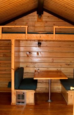 Great idea for a tiny cabin.  The booth seating offers versatility for guests, as a workspace, and if you were really crafty I bet it could convert to a bed like in a camper.