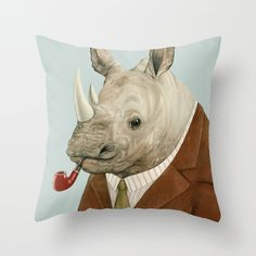 Mr Rhino Throw Pillow.