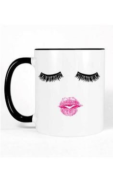 Super cute and fun mug! Click this pin to find it on Etsy! Lashes and Lipstick Coffee Mug | Cute Gift Women Eyelash Mug | Eyelashes Mug | Girly Gift for Sister | Cute Mug | Birthday Gift for Her | Coffee Mug | Gift Ideas | #ad #giftideas #funnymugs