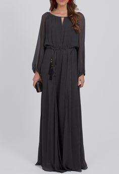 Vestido longo de poá com manga comprida Ateen - powerlook