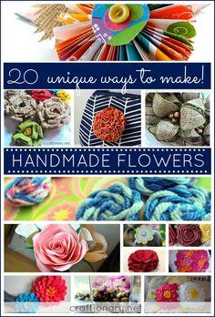 DIY handmade flower ideas. Make decorative flowers. Tutorials to make paper, burlap, fabric, felt flowers. Nylon, ribbon flowers. Sewing flowers. Rosettes