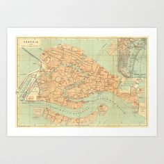 Vintage Map of Venice Art Print by Carambas - $16.00