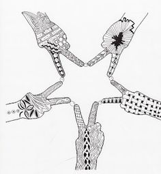 Efie goes Zentangle - this would be great to put together a couple of completed stars as a group project.