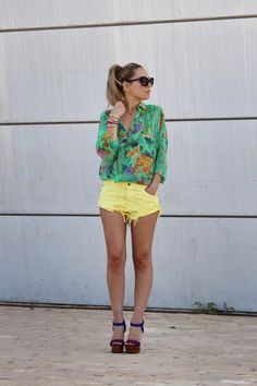 Yellow Shorts & Green Floral Top