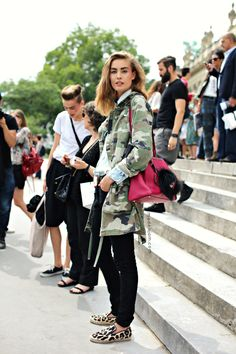 camouflage and leopard - love this look for #NYFW