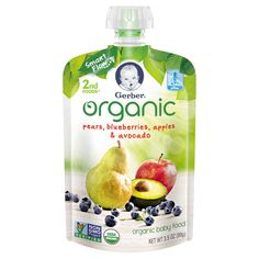 Gerber Organic 2nd Foods Pouch Pear Blueberry Apple Avocado, 3.5oz