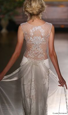 claire pettibone fall 2016 bridal new york runway sleeveless jewel neckline lace embroidered sheath wedding dress back view