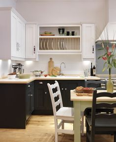 Mix of units, colours and handles. Shaker and classic shaker style kitchens, John Lewis of Hungerford Open Plan Kitchen Diner, Updated Kitchen, New Kitchen, Kitchen Dining, Kitchen Decor, Kitchen Ideas, Rustic Kitchen, Dining Room, White Shaker Kitchen