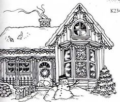 Christmas Coloring Pages For Adults  Gingerbread House   Adult