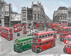 Traffic chaos: Stephen's impression of Piccadilly circus on a busy day as London buses crowd the streets