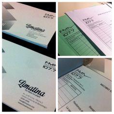 Parte de los últimos trabajos: impresión de talonarios de 50 hojas por duplicado, numerados, abrochados y troquelados.