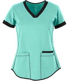 Aren't these cute? We like the Junior Fit and the bottom hem. The large pockets come in handy. STRETCH Junior Fit 3 Pocket Top by Barco NRG Scrubs