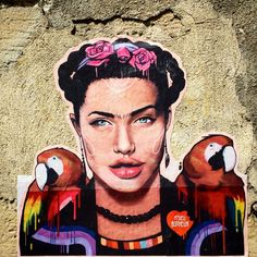 This is an interesting Angelina Kahlo by , Angelina kahlo : ?This is an interesting Angelina Kahlo by Stencil Art, Stencils, Paris Photos, Banksy, Angelina Jolie, Urban Art, Collage Art, Pop Art, Graffiti