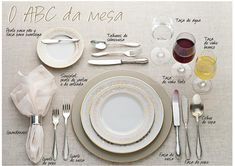 Table setting - Como arrumar a mesa! Wein Parties, Cena Formal, Dining Etiquette, Etiquette And Manners, Learn Portuguese, Table Manners, Table Set Up, Deco Table, Decoration Table