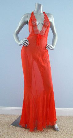 b0a23bcc5a7  398 Nwt Victoria s Secret Designer Collection 100% Silk Red Mermaid Lace  Gown… Designer Collection