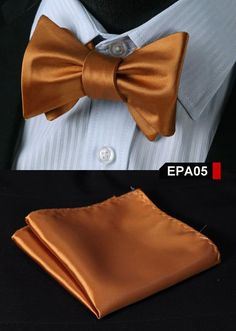 EPA Solid Men Silk Woven Party Classic Pocket Square Self Bow Tie Handkerchief Set