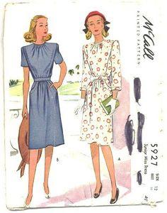 Vintage 1940s Ladies Sewing Pattern Vintage McCalls 5927, Bust 30, Hip 33, Womens 3/4 Sleeve Dress