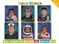 Occupations Clipart Set - 30 common types: Football Player, Artist, Fireman, Doctor (female), Doctor (male), Police Officer, Teacher, Train Conductor, Business Person, Chef, Astronaut, Farmer, Astronomer, Construction Worker, Happy, Mail Carrier, Pirate, Pilot, Investigator, Princess, Basketball Player, Magician, Musician, Mom/Dad, Monster Truck Driver, Scientist, President, Veterinarian, Singer, and Paleontologist