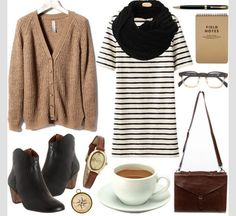 Cute dress with oversized sweater. Perfect for those awkward fall days.