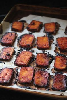 Baked Sriracha Tofu. I've been on a sriracha kick lately, so this would be a fun one to try.