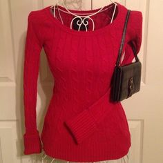 Another red sweater Size small American Eagle cable sweater.  Perfect condition as well. No snags or pills.  This on has cuff sleeves. American Eagle Outfitters Sweaters Crew & Scoop Necks