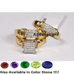 Diamond Wedding 14K Yellow Gold Trio His and Her Bridal Band Engagement Ring Set #Aonedesign #WeddingEngagementAnniversary