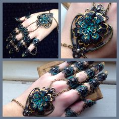 Prepare to look fierce with this Full hand set of Black Dahlia finger claws, Beautiful set lavished with green accents and diamantes, flecks of gold Hand Jewelry, Seed Bead Jewelry, Jewelry Rings, Fantasy Jewelry, Gothic Jewelry, Armor Ring, Types Of Gold, Black Dahlia, Black Gold Jewelry