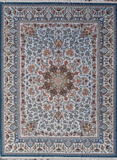 Grand Masterpiece Isfahan Sky Blue Persian Rug 10x13 by Tableaurug