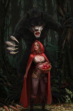 Sin - ArtStation - Red riding hood and Wolf, Milos Rocenovic Fantasy Art Women, Dark Fantasy Art, Fantasy Girl, Fantasy Artwork, Dark Disney, Disney Art, Red Riding Hood Wolf, Werewolf Art, Vampires And Werewolves