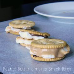 "Peanut Butter S'mores Snack Ritz Cracker Bites are probably one of my all time favorite treats! It's beyond simple to make but they are so good & it's such a fun finger food! Pin this on your ""Must Try Dessert Recipes"" board!"