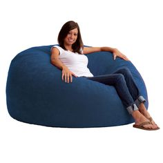 Fuf Bean Bag Chair Upholstery Comfort Suede Blue Sky